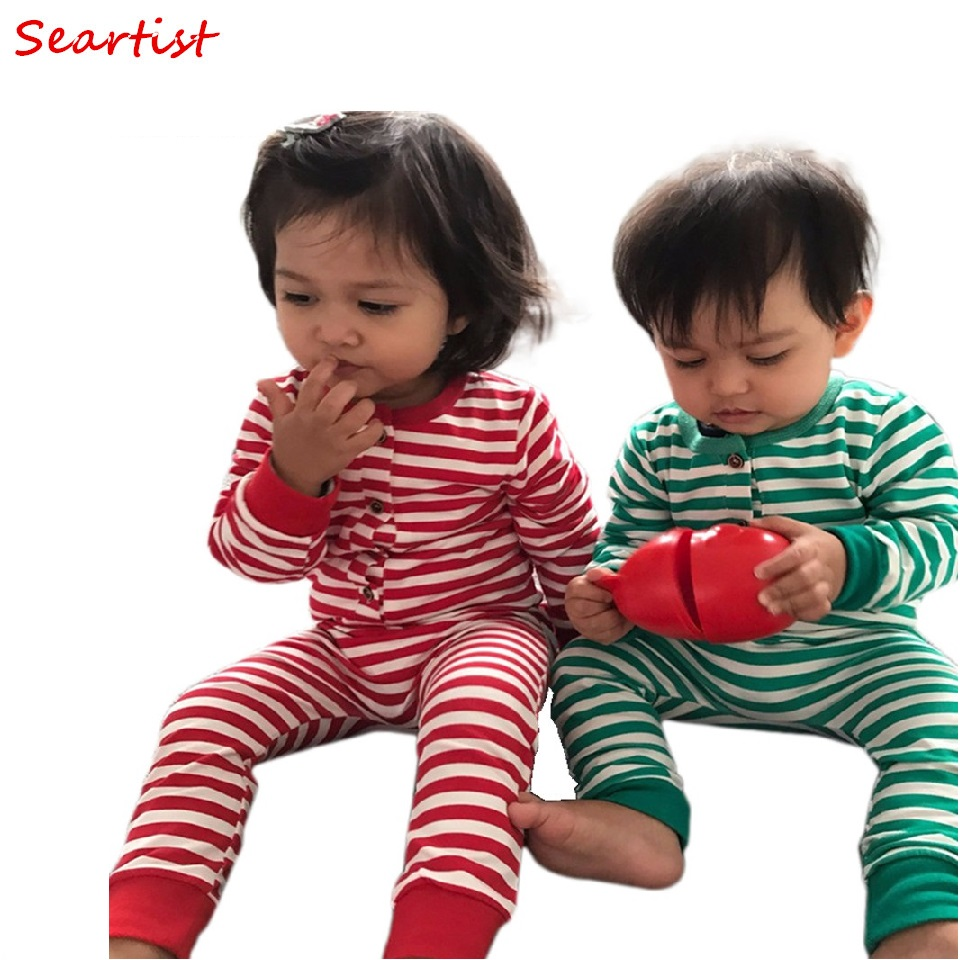 Seartist Girls Boys Christmas   Rompers   Boy Girl Striped Jumpsuits Kids Xmas Pajamas Newborn Baby Boy Girl Clothes 2019 New 30