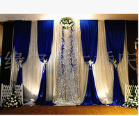 Free Shipping Royal Blue Wedding backdrop with silver sequin in middle wedding decoration