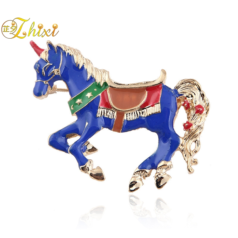 ZHIXI Simple And Stylish Horse Brooches For Women Fine Jewelry White Brooch Jewelry Luxury Pins for Clothes Trendy Coral B131