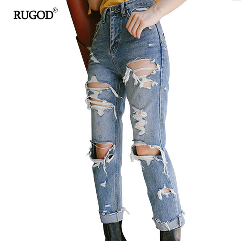 2017 Loose Ankle-Length Cross-Pants For Women Hollow Out Big Hole Brushed Vintage Zipper Fly With High Waist Jeans Large Sizes