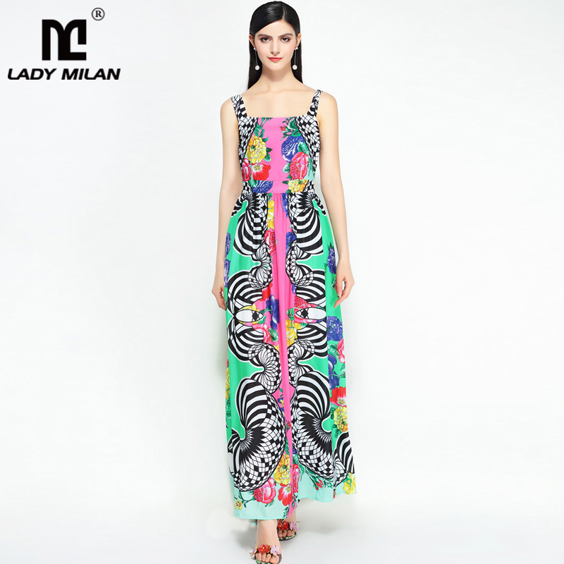 New Arrival 2018 Womens Sexy Spaghetti Straps Printed Floral Ruched Fashion Casual Holiday Long Dresses