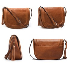 Women's Brown PU leather flap shoulder bag with tassel