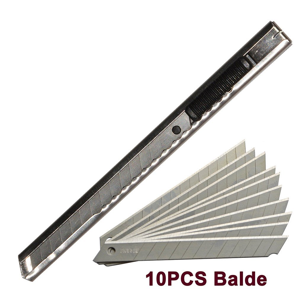 Ehdis Stainless Steel Art Knife Retractable Folding Utility Knife Razor Knife with 10PCS Snap Off Blades Stickers Paper Cutter