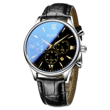 Hommes Mode Quartz en cuir Montre Automatique trois cadrans montre-bracelet d'affaires top qualité célèbre étanche horloge vintage relogio