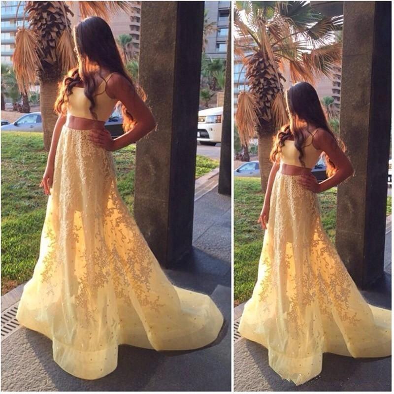 Robes de bal jaune clair 2019 nouvelles deux pièces robes de bal balayage train dentelle appliques de haute qualité robes de soirée pour fille personnalisé