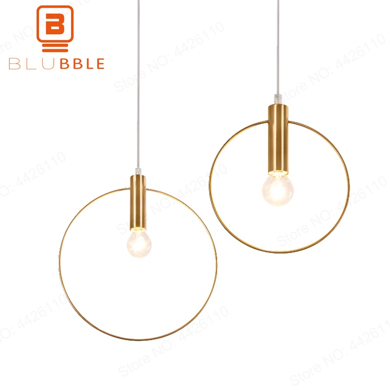 BLUBBLE Vintage Antique Golden Circle Pendant Lights Originality Plated Vacuum Modern Led Lamp Bar Counter Hanglamp Simple