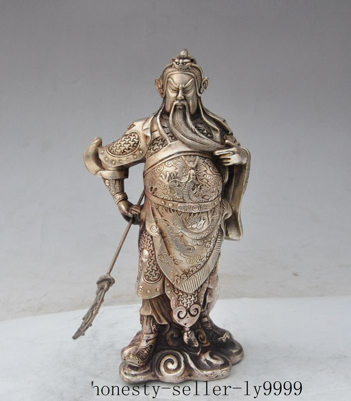 Crafts statue chinese silver dragon Soldier Generals guangong guanyu god Broadsword statue halloweenCrafts statue chinese silver dragon Soldier Generals guangong guanyu god Broadsword statue halloween