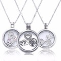 Floating Locket Medium Crystal Glass Sterling-Silver Woman Necklace Jewelry Charm Bracelets & Necklaces Wholesale