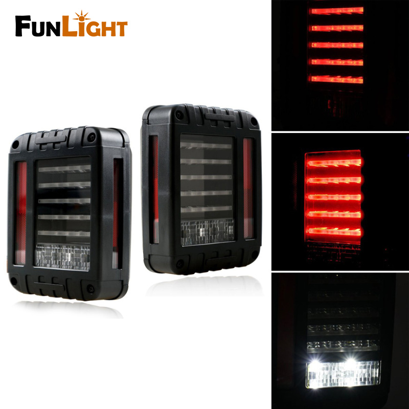 LED Tail Lights for 2007-2017 Jeep Wrangler Tail Light Brake Reverse Turn Singal Lamp Back Up Rear Parking Stop Light Daytime