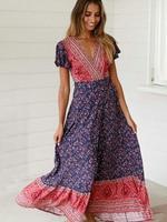 vintage Wrap dress rayon Floral print summer dresses sexy deep v neck Gypsy maxi dress Hippie boho dresses for women vestido