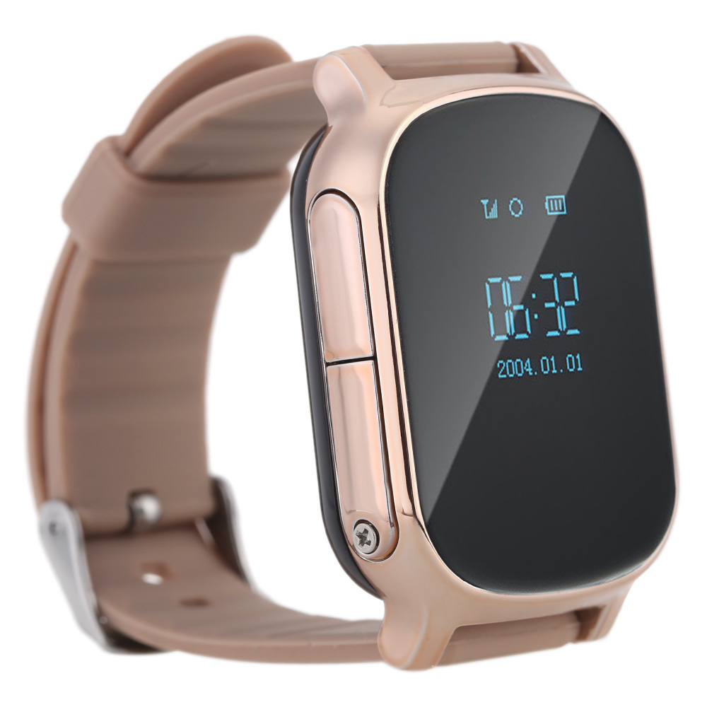 Gold GPS Tracker Watch T58 for kids & child GPS tracker smart bracelet sos button google map free apps gsm gps locator