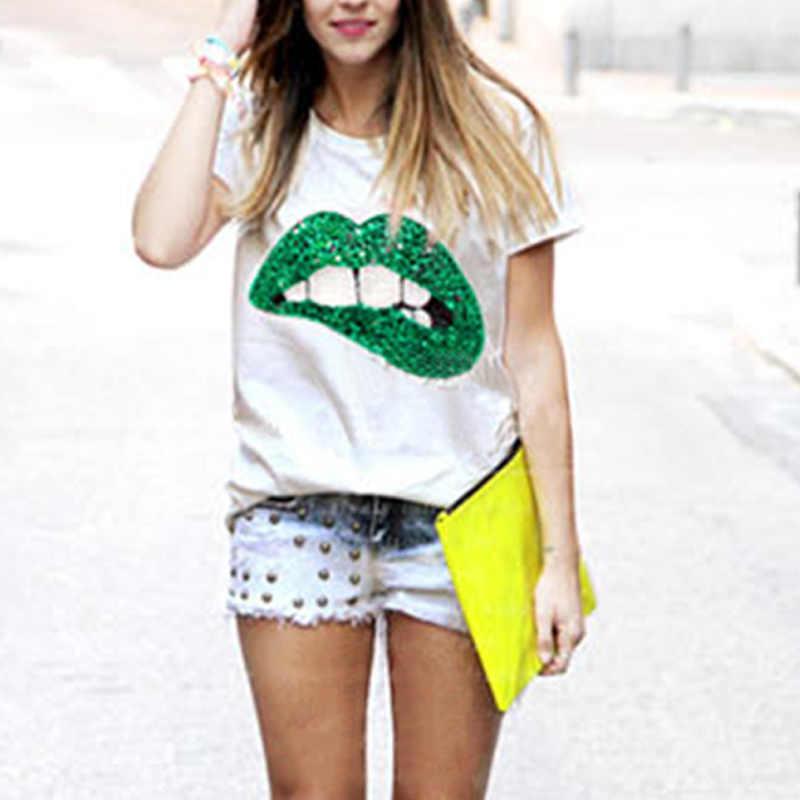 Handmade Printed Red Green Lips tshirts female T-shirt plus size summer T- a5e1527dee82