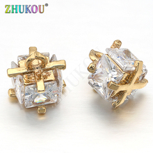 Cubic-Zirconia Charms Brass Pendants-Links 1mm Mixed-Color Model:Vd250 Hole-: 7--7mm