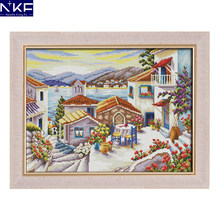 NKF Beach House Cross Stitch Pattern 11CT 14CT Painting Cross Stitch Set for Embroidery Stamped Kits Home Decor Needlework(China)