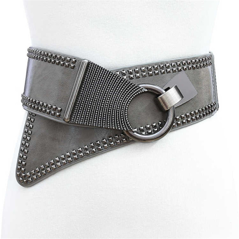 New Black Leather Cummerbunds Female Woman Belt Studded Wide Women'S Belts Punk Rivet Stretchy Dress Waistbands Lady