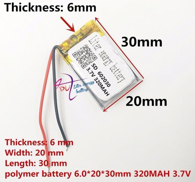 (شحن مجاني) بطارية ليثيوم بوليمر 602030 320mAh 3.7 فولت نقطة قراءة قلم مسجل بالجملة CE FCC بنفايات MSDS شهادة