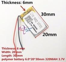 (Miễn phí vận chuyển) pin lithium polymer 602030 320 mAh 3.7 V điểm đọc recorder pen bán buôn CE FCC ROHS MSDS xác nhận