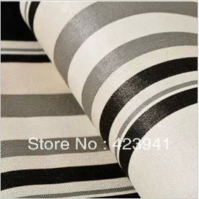 10m*53cm Black and white and grey stripe bedroom living room TV setting wall paper,wall stickers home decor stickers wall decor