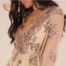 FREE SHIPPING Hoco Playsuit Sequined Floral Long Sleeve JKP984