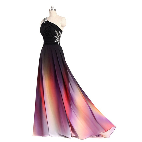 Hot Sale 2019 Long Evening Dresses One Shoulder Gradient Black Red Chiffon Prom Dress Cheap In Stock Real Photos Vestido Longo Karachi