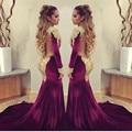 2016 Stunning Burgundy Velvet Mermaid Celebrity Red Carpet Prom Gowns Golden Applique High Neck See-Through Back Evening Dresses
