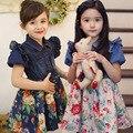 Denim dresses for girls summer jeans top/shirt floral dress for children patchwork  toddler girl clothing child menina