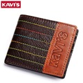 KAVIS Logo Vintage Leather Men Wallets Genuine Leather Small Short Purse Men Brand Design Male Purse Card Holder Wallet