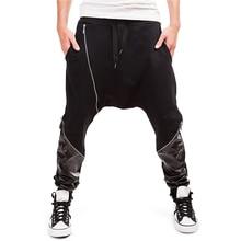 PU Leather Patchwork Baggy Harem Pants Men Zipper Up Stylish Hip Hop Pants 2017 Drawstring Loose Mens Pantalon Homme Black Gray