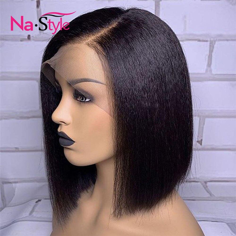 Yaki Human Hair Wig Yaki Straight Lace Wig Short Bob Wig Lace Front Human Hair Wigs