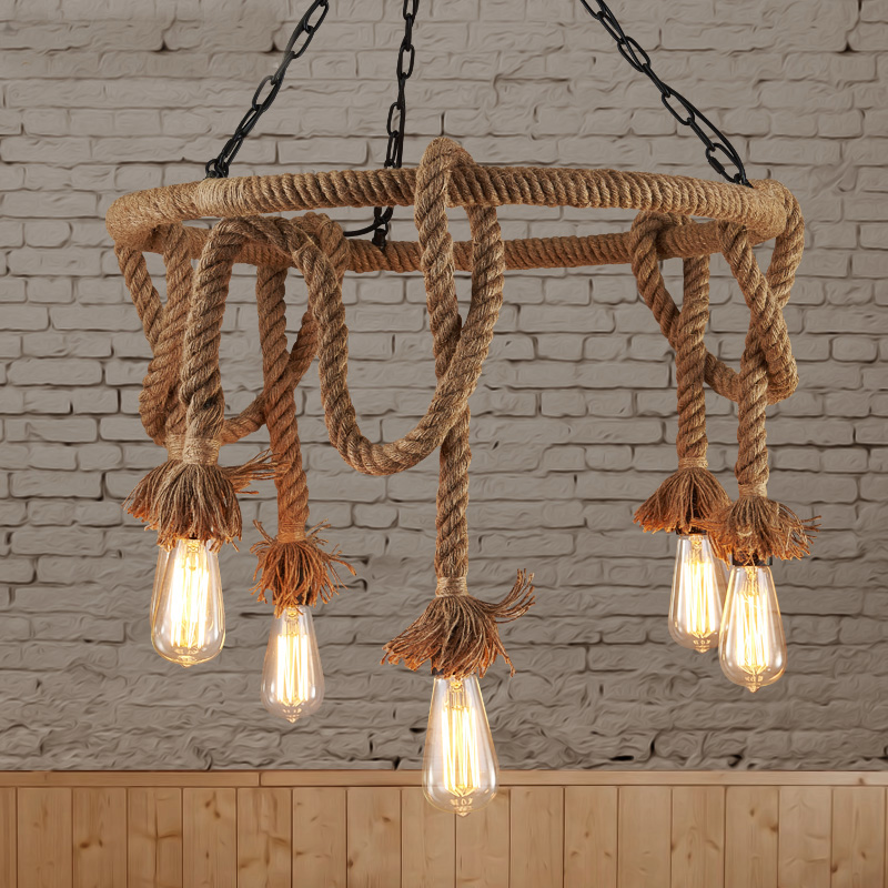 loft Nordic retro Hemp rope pendant light American country clothing store Cafe hang lamp 110-240V