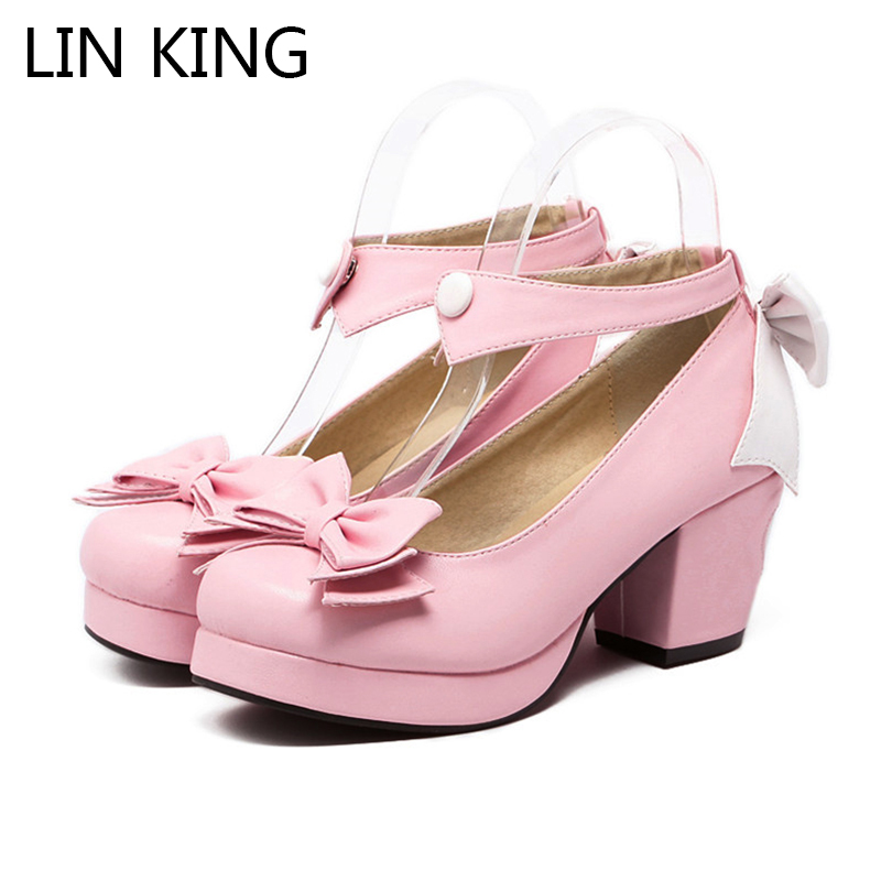 LIN KING Fashion Square Heel Women Pumps Sweet Bowtie High Heel Platform Lolita Shoes Ankle Strap Cosplay Party Wedding Shoes new arrivals pale pink shiny leather kawaii rabbit ankle strap sweet lolita shoes 5 5cm heel pumps