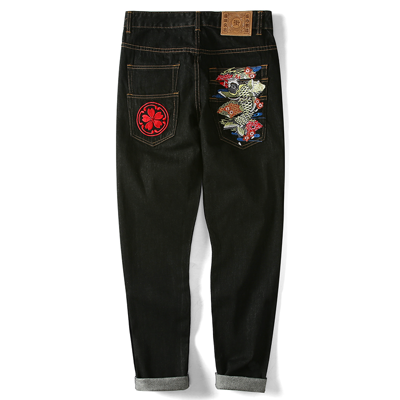 2018 summer new trend Japan style   jeans   medium waist straight carp embroidered waster wash big size 36 38 casual   jeans