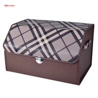 E FOUR British Style Trunk Storage Box in Car Leather Cover High Density Broad Plate Fashion Accessories Stay Hold Stowing Boxes