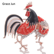 Grace Jun New Design Multicolor Enamel Rhinestone Rooster Brooches for Women Luxury Animal Gold Brooch Pin Jewelry High Quality