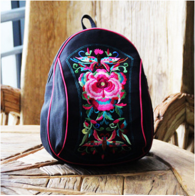 Fashion National Embroidery Shopping Backpack!nice Floral Embroidered Women Small Backrack Vintage Embossing Canvas Backruck