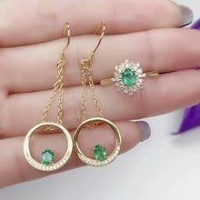 купить SHILOVEM 925 sterling silver Natural Emerald rings earrings Jewelry wedding women wholesale new gift yhtz040598agml по цене 9443.37 рублей