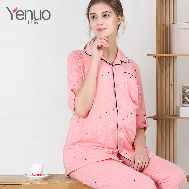 Long Slevees Cotton Maternity Clothes Set Maternity Sleepwear Breastfeeding Sleepwear Nursing Pajamas Pregnant Women Lounge