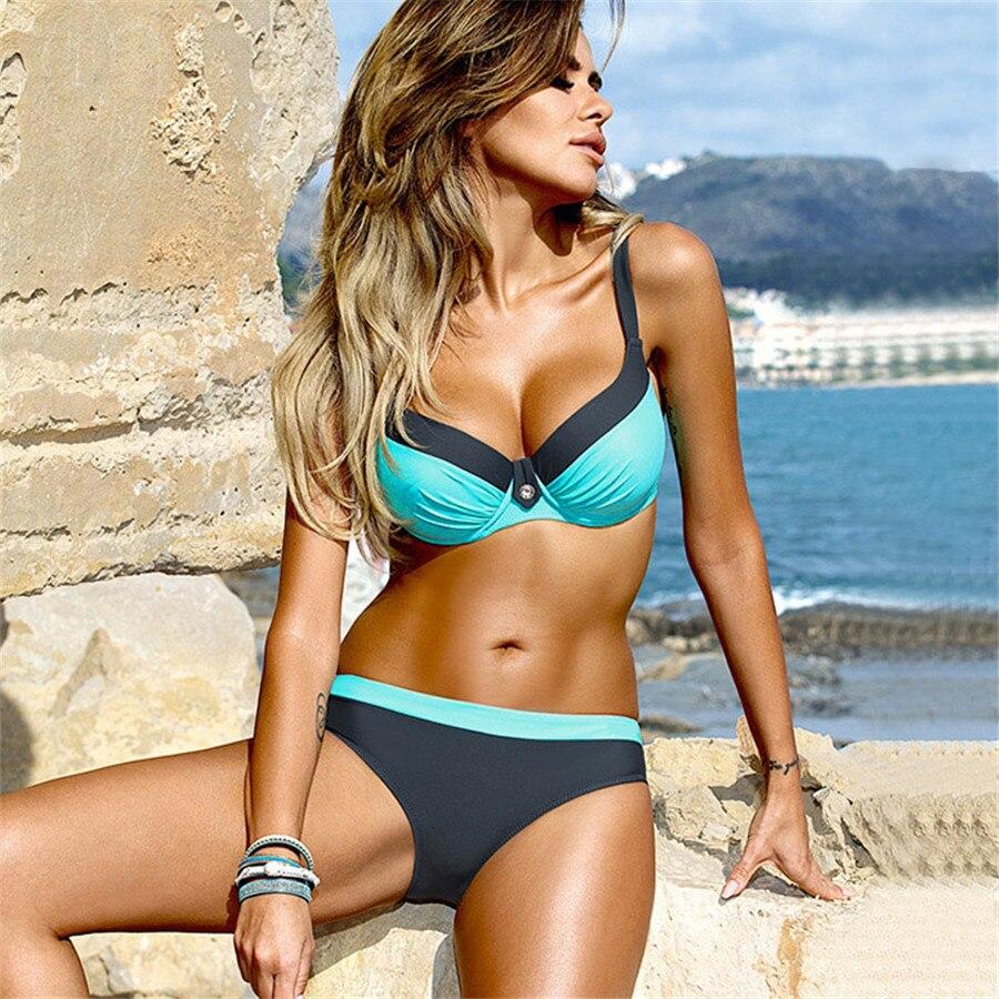 HTB1In70qdcnBKNjSZR0q6AFqFXap bikini swimwear women 2018 sexy bikini set push up swimsuit female two piece swimsuit women halter yellow bikini girl beach wear