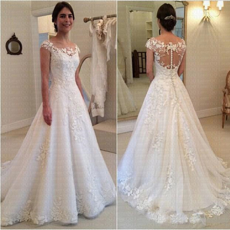 2019 New Vestido de Noiva Modest Sheer Bateau Neckline See Through Back Wedding Dress Cap Sleeves Bridal Gowns