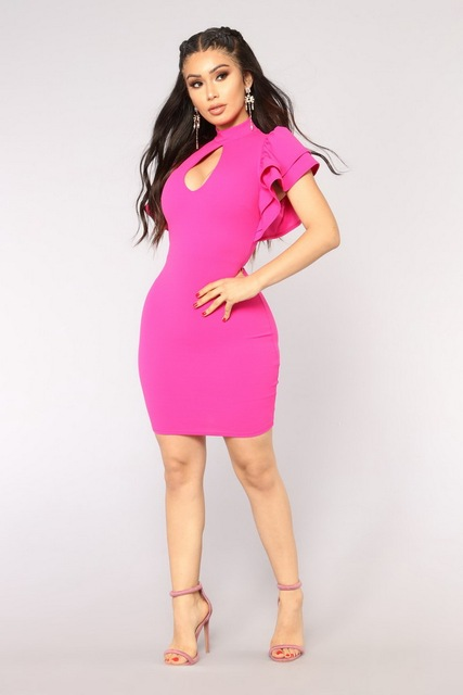 b6749b9328512 Wendywu Woman Summer Sexy Front Key Hole Hollow Out Ruffles Short Sleeve  Party Stretch Bodycon Club