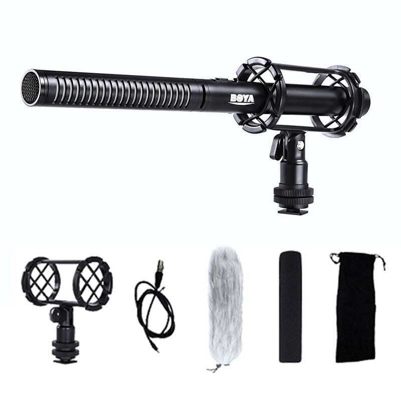 BOYA BY-PVM1000/1000L Pro Broadcast-Quality Interview Condenser Shotgun Microphone with Foam Windscreen & Shock Mount 3 Pin XLR