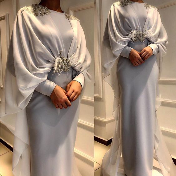 Elegant Silver Grey Muslim   Evening     Dress   with Cape Long Sleeves Crystal Beaded Feather Saudi Arabic Formal Prom   Dresses   in Dubai