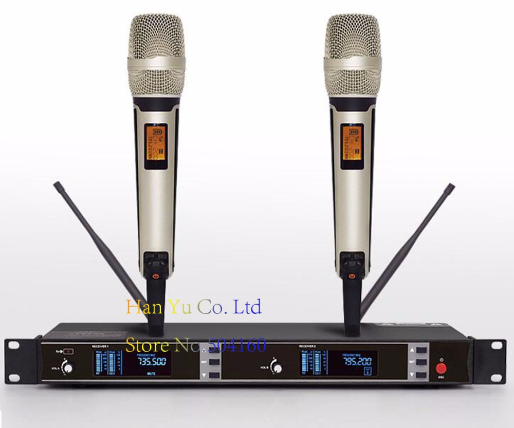 Professional UHF Wireless Microphone 2 Channels Karaoke System Dual Cordless Mic Mike Transmitter For SKM9000 Microfone Sem Fio free shipping 2050 professional uhf wireless microphone monitor system with dual handheld transmitter microfone mic