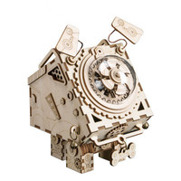 Mechanical Music Box Wooden Animal Model Building Kits Assembly Puzzle 3D Educational Toys for Children Boys DIY Creative Gift