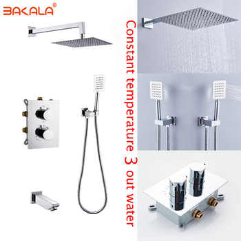 Concealed Mounted MixerBrass Wall Box Mixing Valve Switch Valve Constant Temperature Shower Faucets Thermostatic Chrome 3 Ways - DISCOUNT ITEM  20% OFF All Category