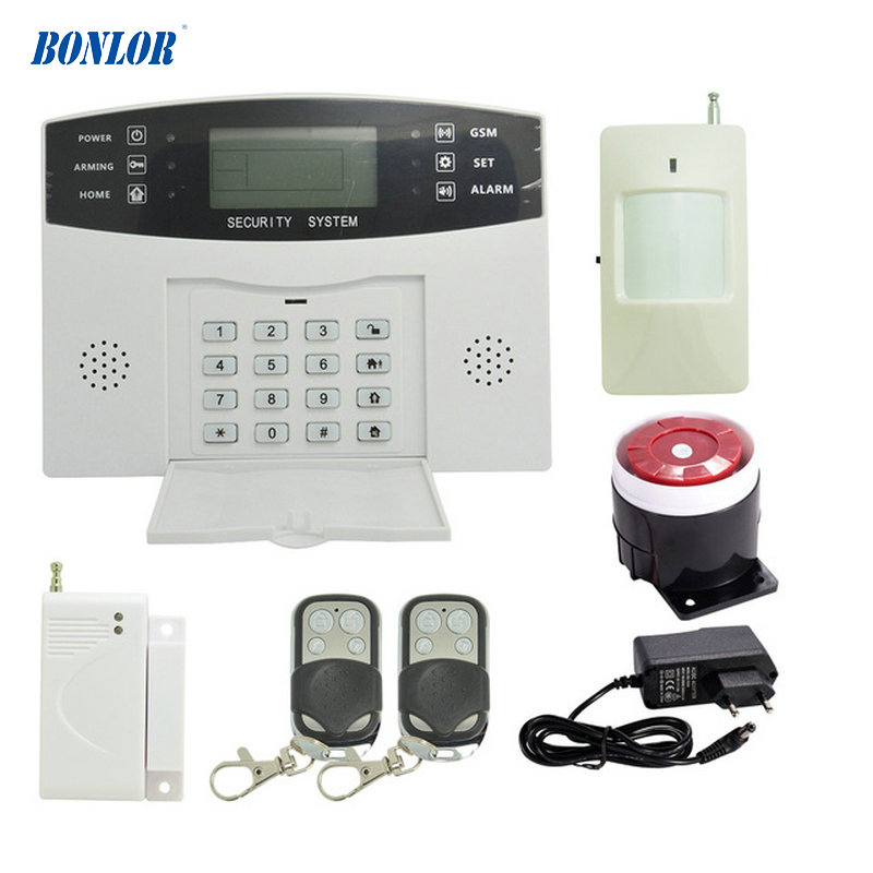 ( 1 Set) Home Security Alarm System 433MHz Wireless PIR Motion Sensor Door Contact LCD Panel GSM Alarm System Indoor Siren