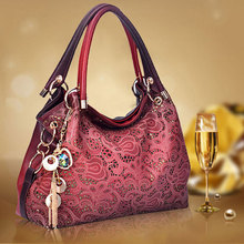 Top-Handle-Bags Floral-Print Vintage Hollow-Out Women Ladies Pu for Ombre Bolsa-Feminina