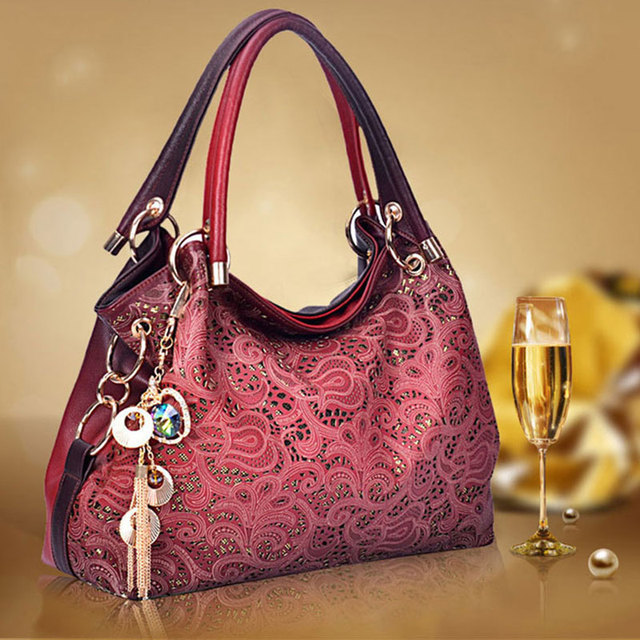 Top-handle Bags for Women Hollow Out Ombre Handbag Floral Print Shoulder Bag