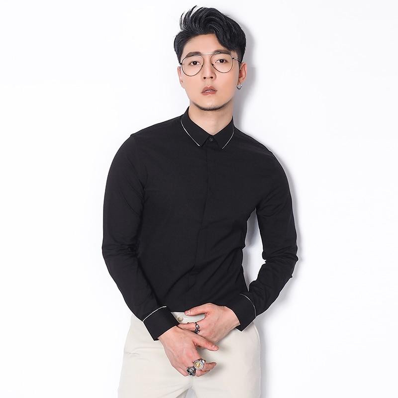 Manches Glissière Longues Confortable Unie Slim Style Black Hommes Coton Coréen Chemise Doux Couleur white À Robe Fit Vêtements De Encolure rwqwFIfxR