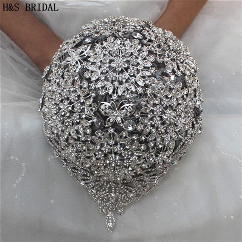 H & S Свадебные букеты Блестящие кристаллы Свадебный букет свадебные аксессуары искусственный свадебный букет s buque de noiva 2018